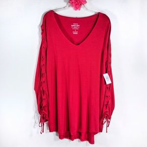 Torrid red super soft lace up sleeve top